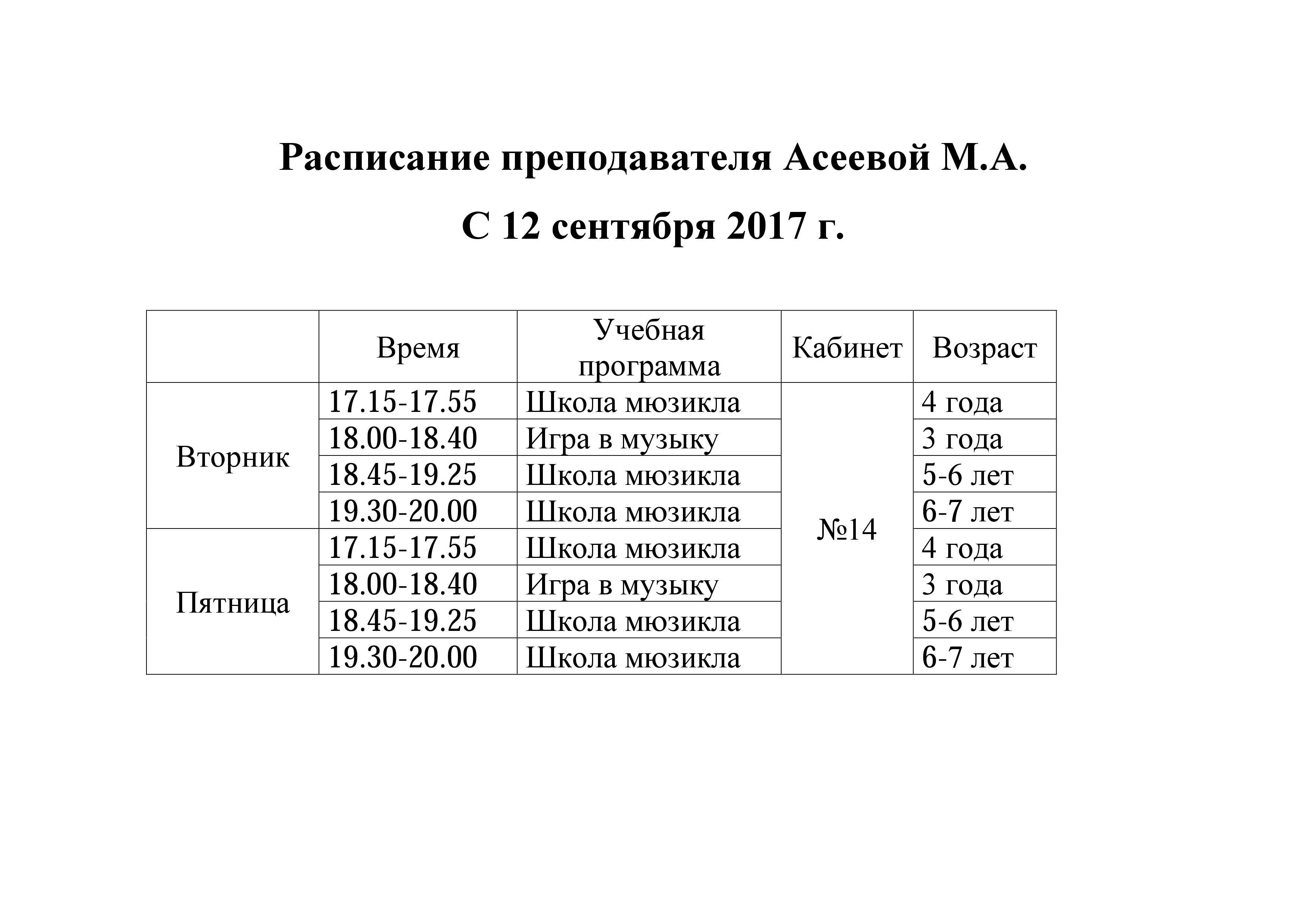 Расписание Асеевой М.А.
