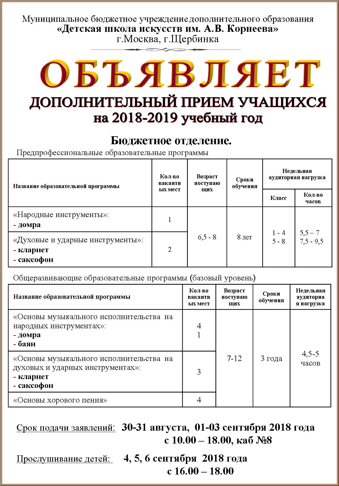 ДШИ Доп.набор 2018